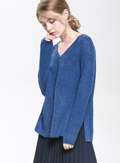 Autumn Blue V-neck Wool Knitted Sweater With Side-Slit