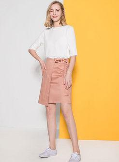 Pure Color Asymmetric Bowknot Mini Skirt