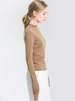 Autumn Half High Neck Slim Knitted Sweater