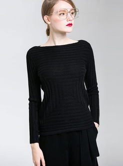 Pure Color Striped Slash Neck Knitted Sweater