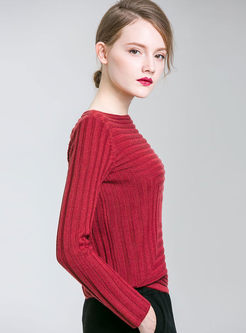 Pure Color Striped Off The Shoulder Knitted Sweater