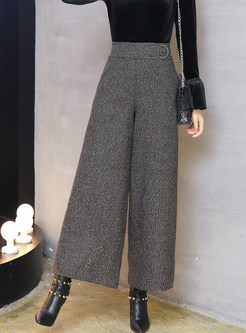 Casual Woollen High Waist Wide Leg Pants