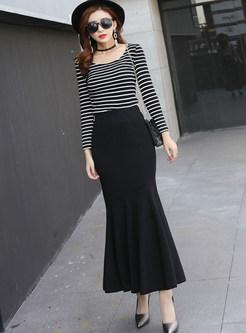 Solid Color Slim Bodycon Mermaid Skirt