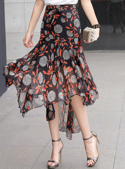Floral Chiffon Irregular Big Hem Flouncing Skirt