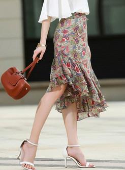 Stylish Floral Flouncing Chiffon Asymmetric Skirt