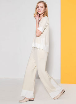 Color-blocked V-neck Knitted Top & Wide Leg Pants