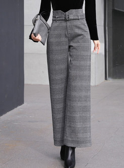 Fashion Woollen Belted Plaid Straight Long Pants