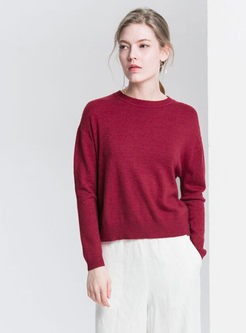 Solid Color O-neck Loose Knitted Sweater