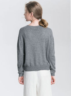 Loose Pure Color O-neck Knitted Sweater