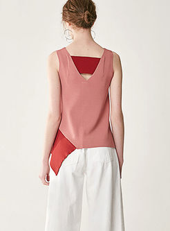 Chic Asymmetric Splicing V-neck Sleeveless Knitted Cami