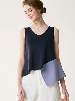 Asymmetric Splicing V-Neck Sleeveless Knitted Cami