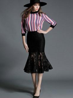 Solid Color Perspective Lace Big Hem Mermaid Skirt