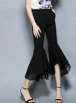 Black Chiffon Splicing Irregular Flare Slim Pants