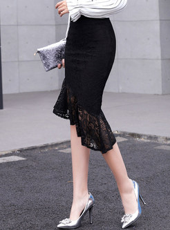 Black High Waist Flouncing Lace Plus Size Skirt