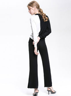 Casual Color-blocked O-neck Knitted Top & Pure Color Tied Slit Striaght Pants