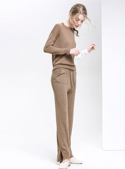 Color-Blocked Splicing Knitted Top & Pure Color Tied Slit Straight Pants