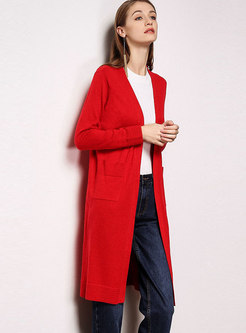 Trendy Solid Color Wool Loose Knitted Cardigan