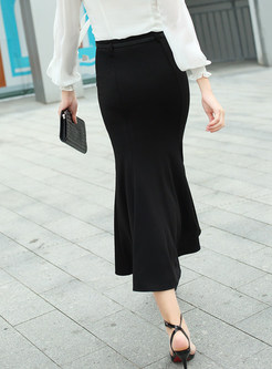 Pure Color High Waist Sheath Mermaid Maxi Skirt