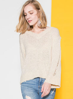 Pure Color Hollow Out V-neck Loose Sweater