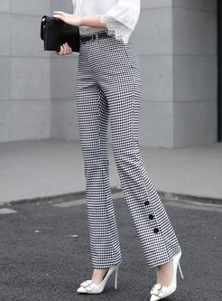 Casual Plaid Slim Pocket Flare Pants