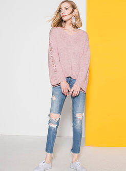 Pink Hollow Out V-neck Loose Sweater