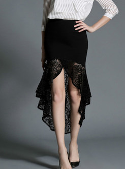 Stylish Sexy Lace Flouncing Perspective Sheath Skirt