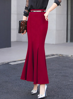 Red High Waist Slim Mermaid Maxi Skirt