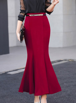 High Waisted Slim Mermaid Maxi Skirt