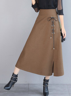 Pure Color Woollen Tied High Waist Big Hem Skirt