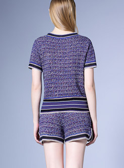 Stylish Blue Color-block Knitted Top & High Waist Shorts