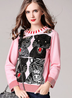 Pink Animal Pattern Knitted Sweater With Embroidery