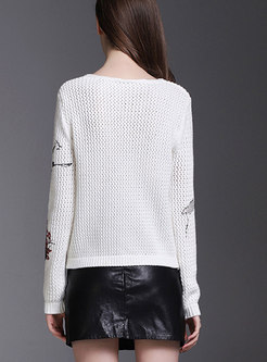 White Hollow Out Loose Knitted Sweater