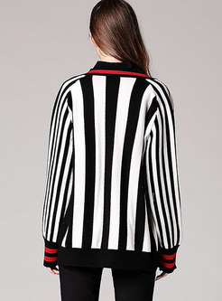 Trendy V-neck Striped Knitted Open Cardigan Sweater