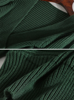 Green Cross V-neck Elastic Ribbed Long Sleeve Sweater