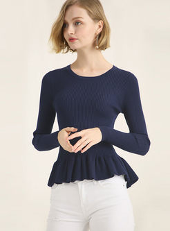 Slim Solid Color O-neck Falbala Knitted Sweater