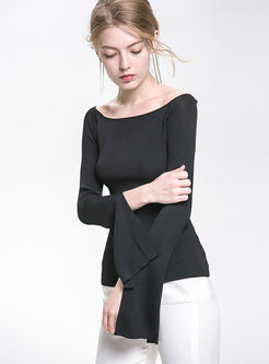 Fashionable Pure Color Slash Neck Flare Sleeve Slim Knitted Sweater