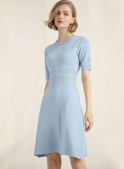 OL Pure Color Gathered Waist O-Neck Slim Knitted Dress