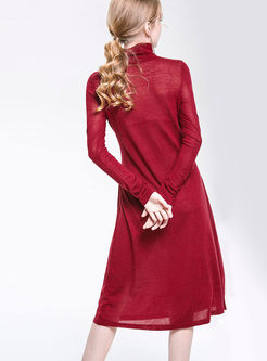 Pure Color Turtle Neck Belted Hem Knitted Dress