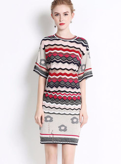 Chic Jacquard Hollow Out Top & Paneled Mini Sheath Skirt