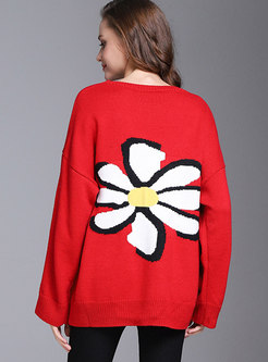 Red Floral Pattern Batwing Sleeve Sweater