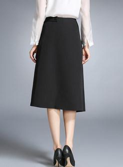 Black High Waist Asymmetric Slit Skirt