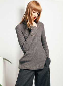 Solid Color Tutleneck Slit Knitted Sweater