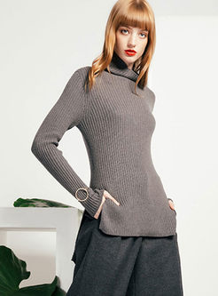 Solid Color High Neck Slit Knitted Sweater