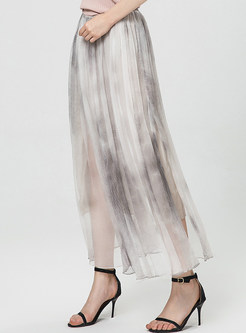 Chic Color Silk Pleated Big Hem Maxi Skirt