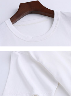 White Casual Cotton O-neck Sequined Loose T-Shirt