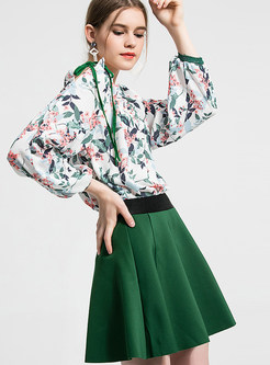 High Waist Color-blocked Zippered Mini A Line Skirt