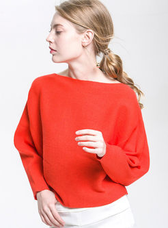 Brief Red Slash Neck Bat Sleeve Knitted Sweater