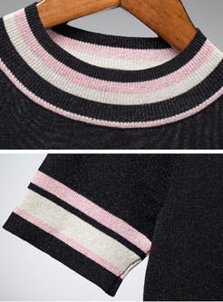 Stylish O-neck Slim Color-blocked Knitted T-Shirt