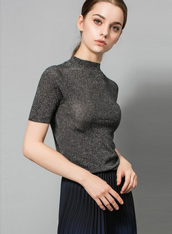 Casual Bright Silk Thread Sheath Easy-matching T-Shirt