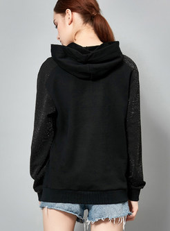 Casual Hooded Tied Letter Print Splicing Sweatshirt
